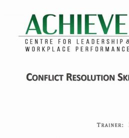 Conflict Resolution Skills Webinar