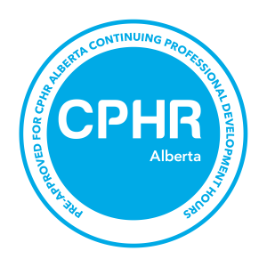 Image of CPHR Alberta Pre-approved seal for continuing education credits, leadership training, conflict resolution