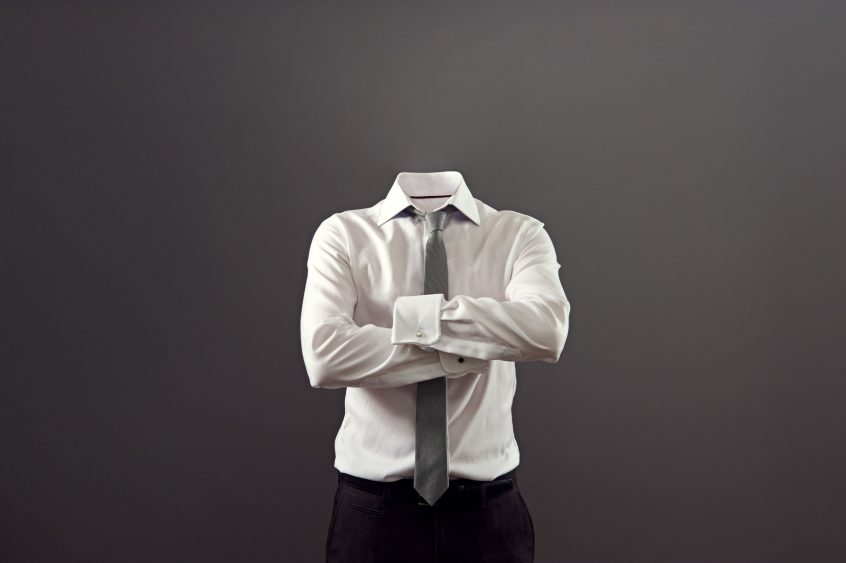 Image of invisible man standing with folded arms over his chest, ACHIEVE leadership training