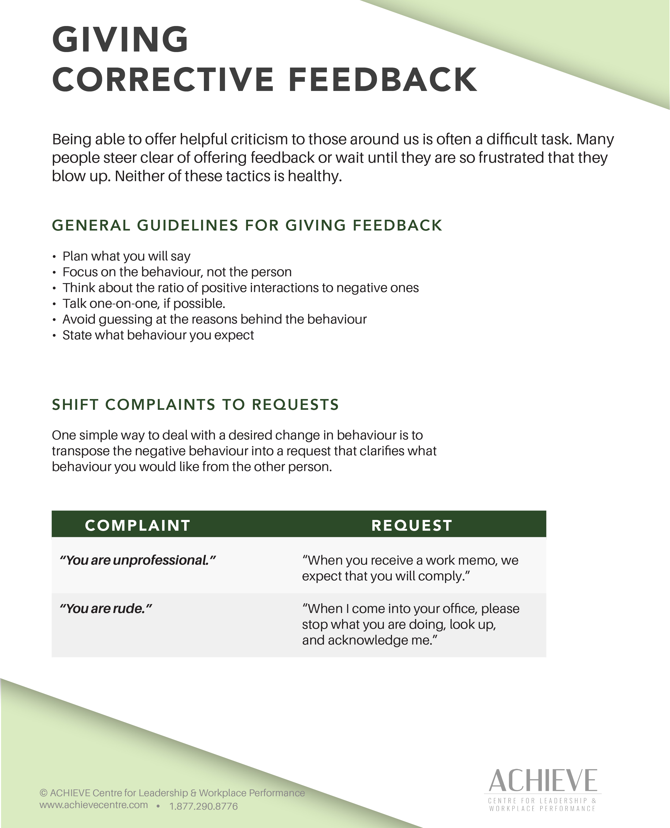 Image of handout Giving Corrective Feedback